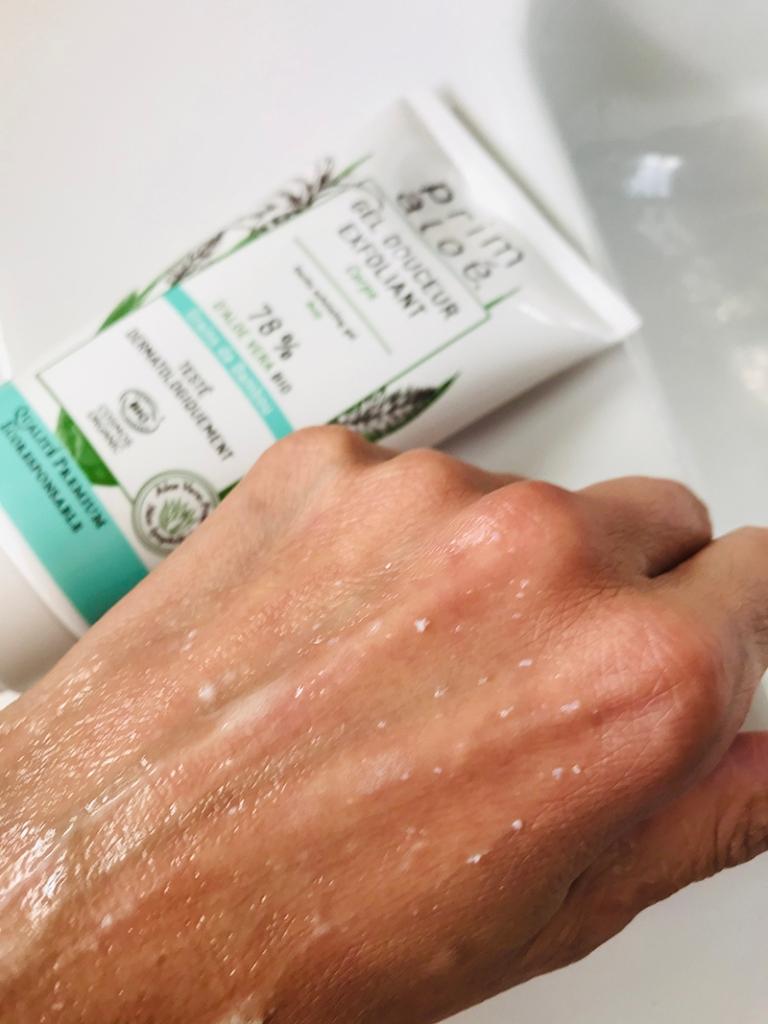 Soins Prim Aloé gel douceur exfoliant corps et crème douceur mains avis blog aloé véra bio